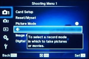 (4) Dann in das Shooting-Menu 1 und den Menupunkt mit dem Bildqualitäts-Icon gehen.