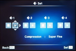 """(3) Hier für das erste Setting Pixel Count auf """"L"""" für Large belassen und statt """"F"""" für """"Fine"""", """"SF"""" für """"SuperFine"""" auswählen und mit OK bestätigen."""