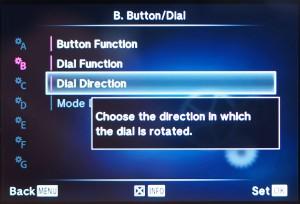 "(2) ""Dial Direction"" auswählen"